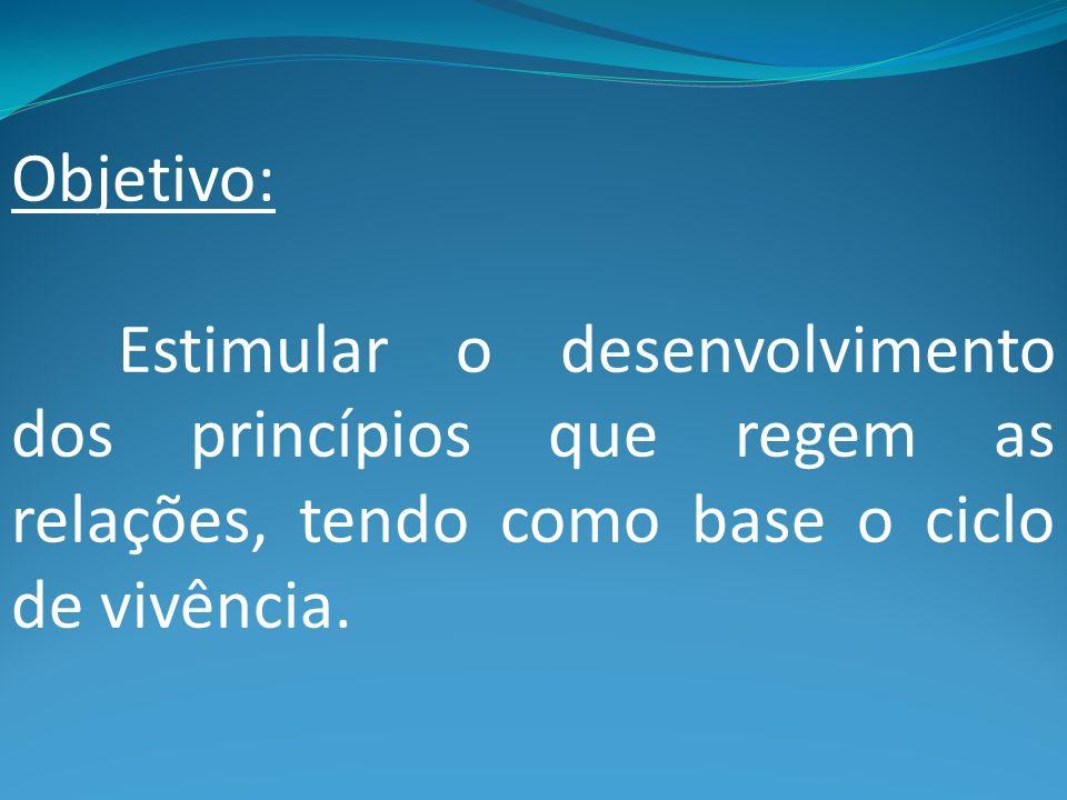 Objetivo: Estimular o desenvolvimento dos princípios que regem as relações, tendo como base o ciclo de vivência.
