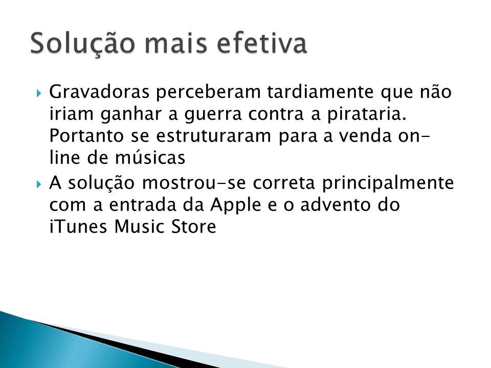 A solução atual, venda de músicas on-line, é viável pois encara o contexto de liberdade que a internet criou e proporciona a seus usuários.