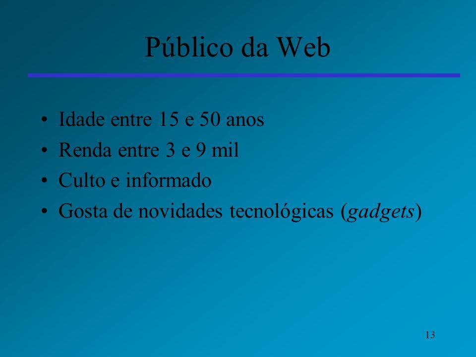 13 Público da Web Idade entre 15 e 50 anos Renda entre 3 e 9 mil Culto e informado Gosta de novidades tecnológicas (gadgets)