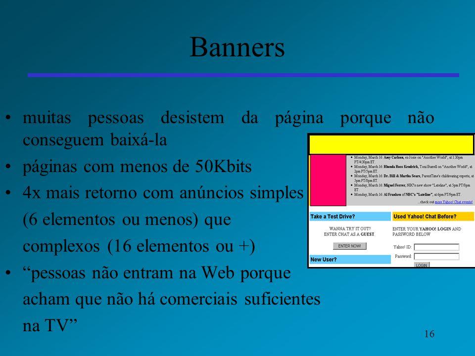 16 Banners muitas pessoas desistem da página porque não conseguem baixá-la páginas com menos de 50Kbits 4x mais retorno com anúncios simples (6 elemen