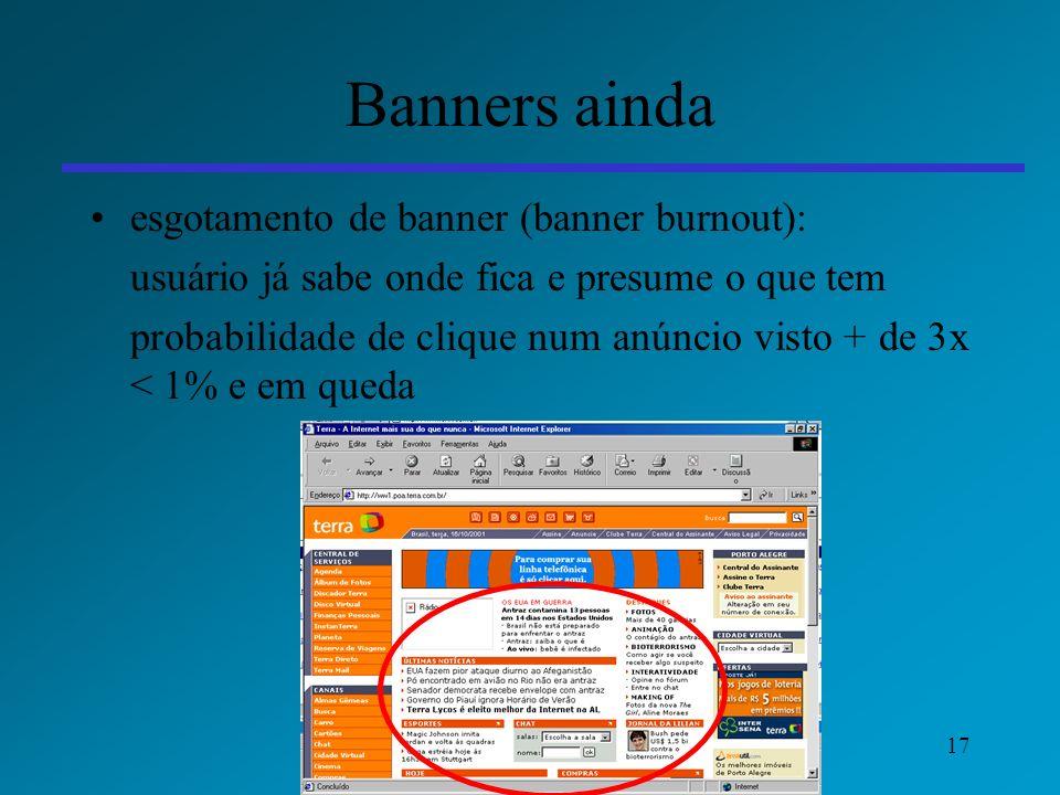 17 Banners ainda esgotamento de banner (banner burnout): usuário já sabe onde fica e presume o que tem probabilidade de clique num anúncio visto + de