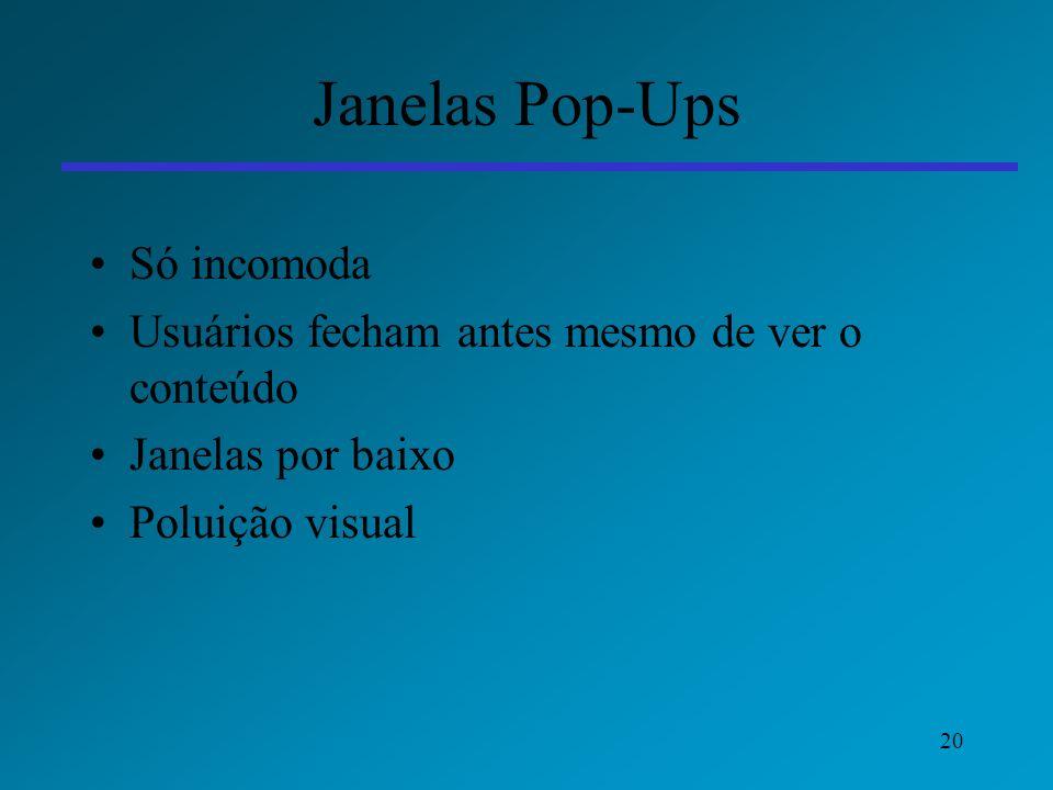 20 Janelas Pop-Ups Só incomoda Usuários fecham antes mesmo de ver o conteúdo Janelas por baixo Poluição visual