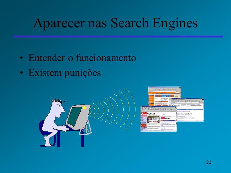 22 Aparecer nas Search Engines Entender o funcionamento Existem punições