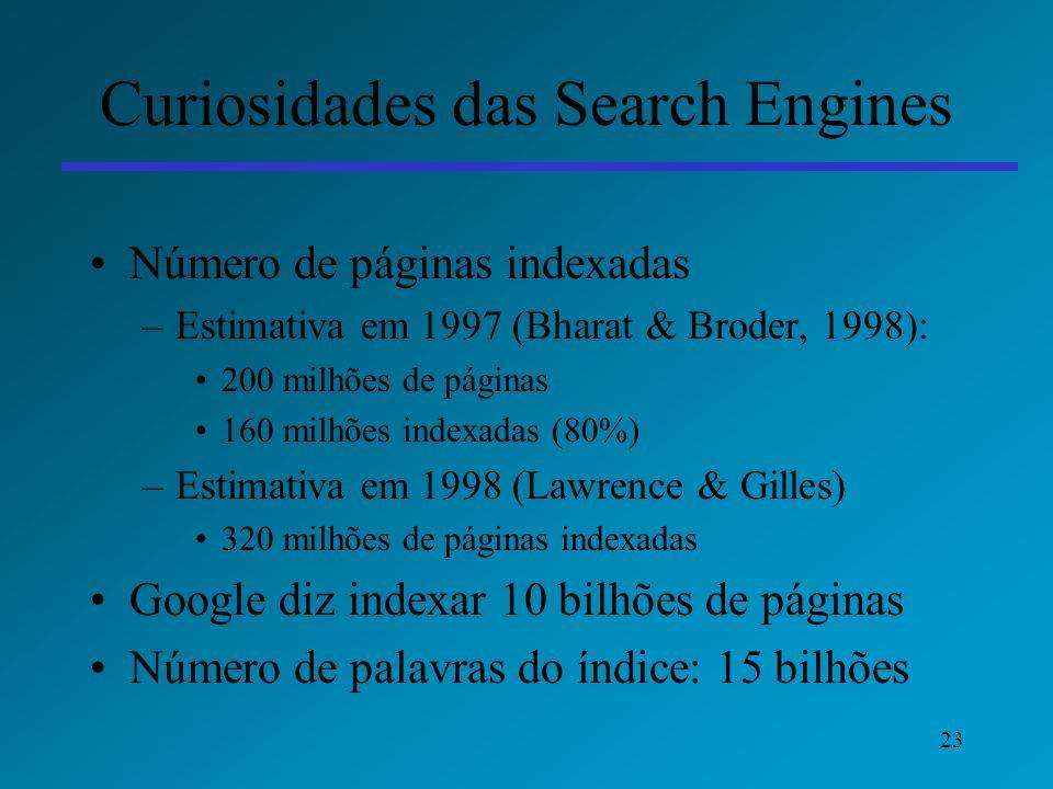 23 Curiosidades das Search Engines Número de páginas indexadas –Estimativa em 1997 (Bharat & Broder, 1998): 200 milhões de páginas 160 milhões indexad