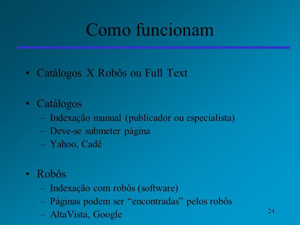 24 Como funcionam Catálogos X Robôs ou Full Text Catálogos –Indexação manual (publicador ou especialista) –Deve-se submeter página –Yahoo, Cadê Robôs