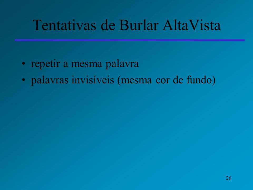 26 Tentativas de Burlar AltaVista repetir a mesma palavra palavras invisíveis (mesma cor de fundo)