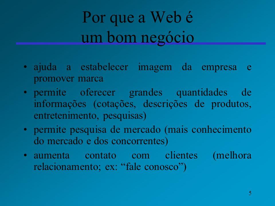 5 Por que a Web é um bom negócio ajuda a estabelecer imagem da empresa e promover marca permite oferecer grandes quantidades de informações (cotações,