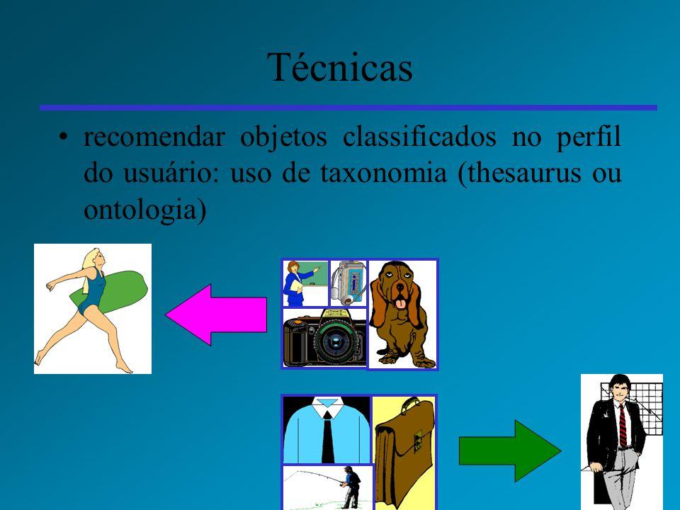 50 Técnicas recomendar objetos classificados no perfil do usuário: uso de taxonomia (thesaurus ou ontologia)