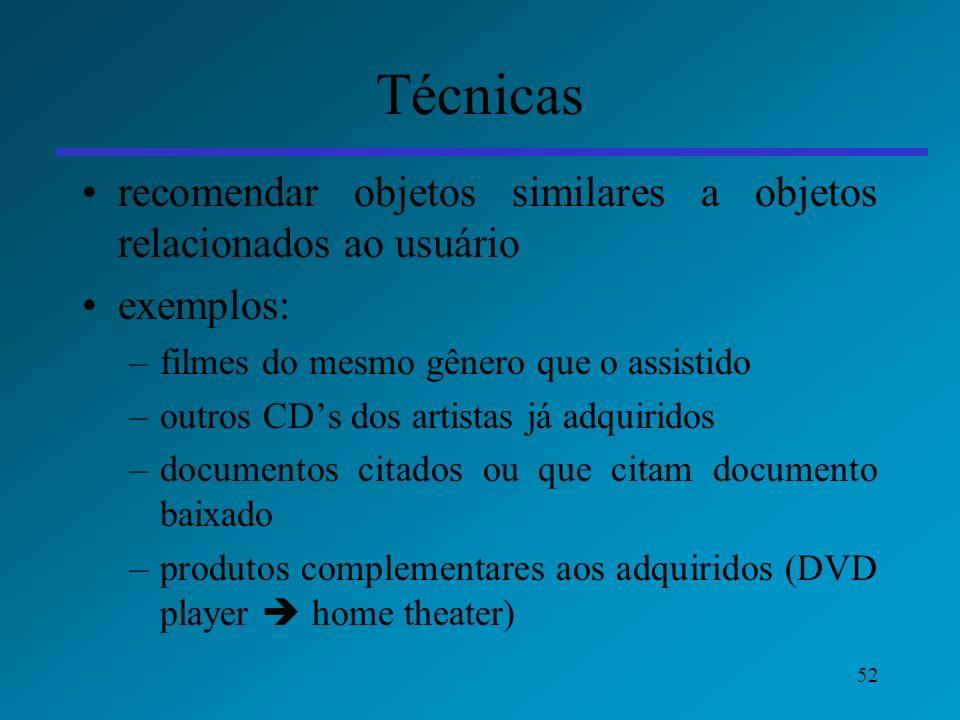 52 Técnicas recomendar objetos similares a objetos relacionados ao usuário exemplos: –filmes do mesmo gênero que o assistido –outros CDs dos artistas