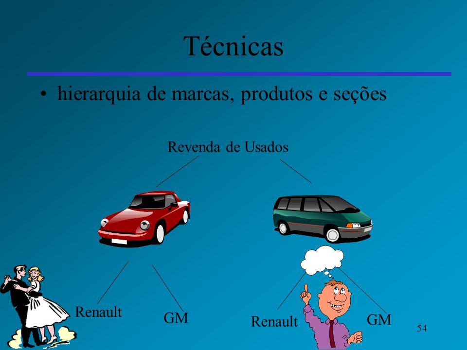 54 Técnicas hierarquia de marcas, produtos e seções Revenda de Usados Renault GM Renault GM