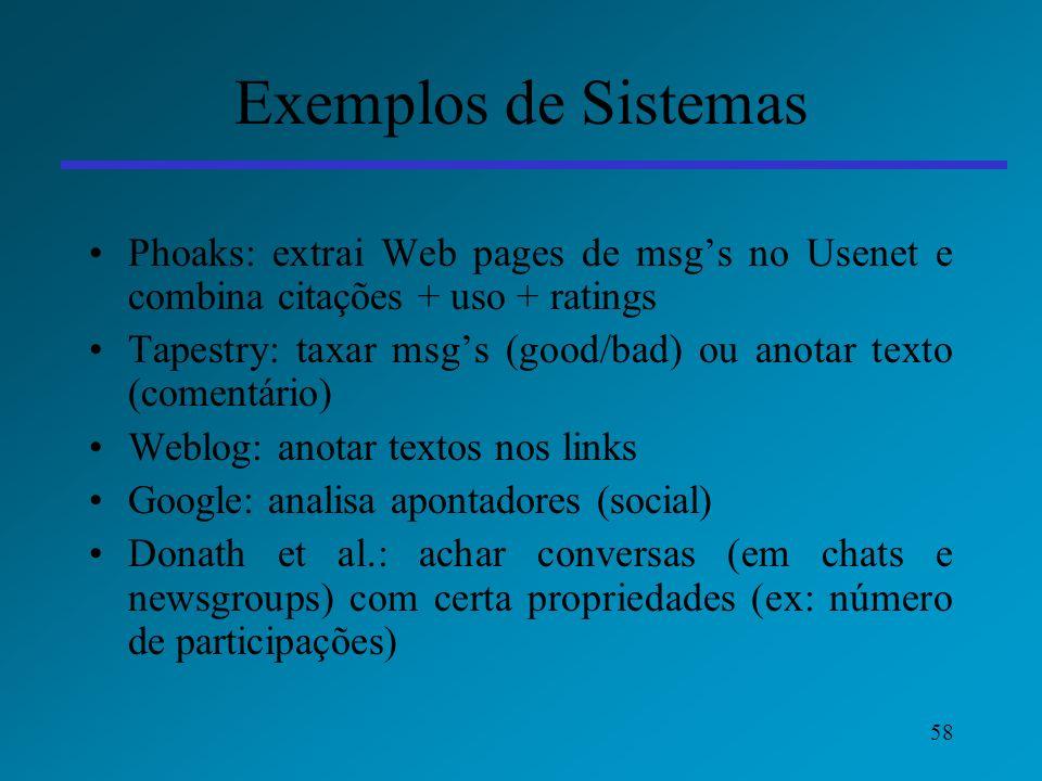 58 Exemplos de Sistemas Phoaks: extrai Web pages de msgs no Usenet e combina citações + uso + ratings Tapestry: taxar msgs (good/bad) ou anotar texto