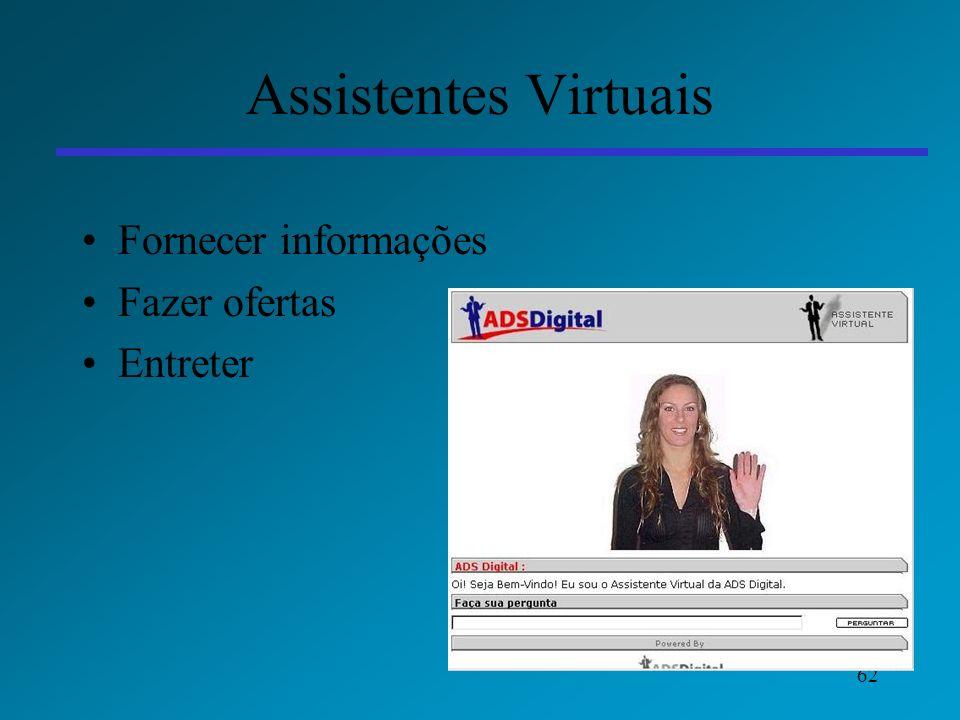 62 Assistentes Virtuais Fornecer informações Fazer ofertas Entreter