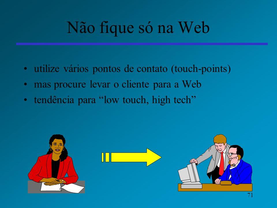 71 Não fique só na Web utilize vários pontos de contato (touch-points) mas procure levar o cliente para a Web tendência para low touch, high tech