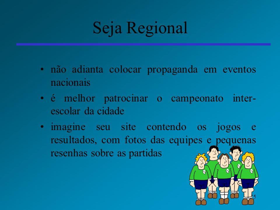 75 Seja Regional não adianta colocar propaganda em eventos nacionais é melhor patrocinar o campeonato inter- escolar da cidade imagine seu site conten