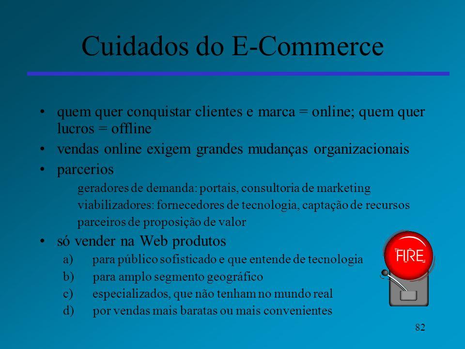 82 Cuidados do E-Commerce quem quer conquistar clientes e marca = online; quem quer lucros = offline vendas online exigem grandes mudanças organizacio