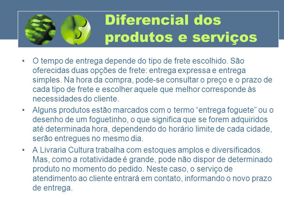 Diferencial dos produtos e serviços O tempo de entrega depende do tipo de frete escolhido. São oferecidas duas opções de frete: entrega expressa e ent