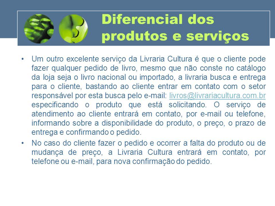 Diferencial dos produtos e serviços Um outro excelente serviço da Livraria Cultura é que o cliente pode fazer qualquer pedido de livro, mesmo que não
