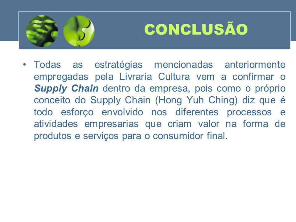 CONCLUSÃO Todas as estratégias mencionadas anteriormente empregadas pela Livraria Cultura vem a confirmar o Supply Chain dentro da empresa, pois como