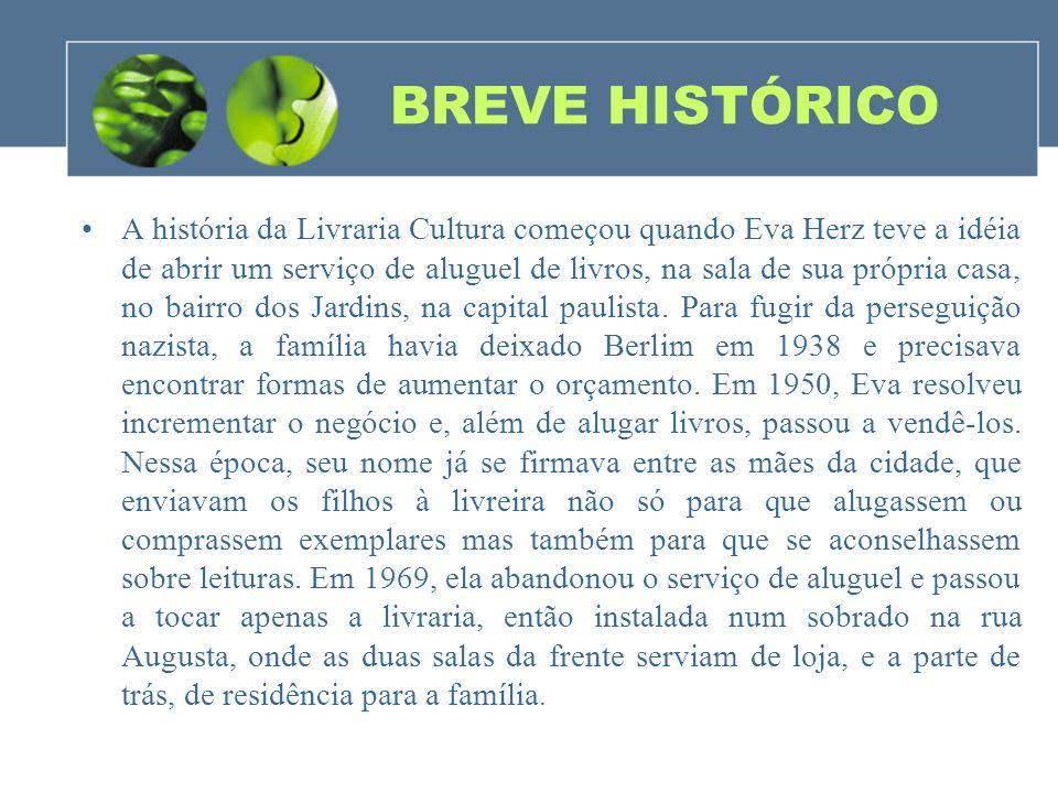 BREVE HISTÓRICO A história da Livraria Cultura começou quando Eva Herz teve a idéia de abrir um serviço de aluguel de livros, na sala de sua própria c