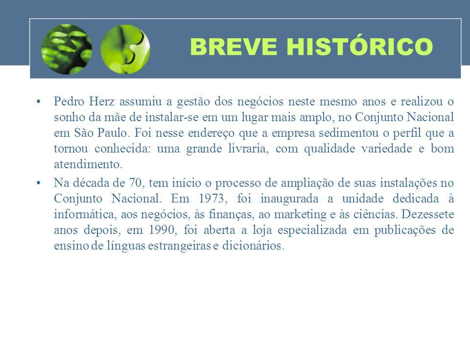 BREVE HISTÓRICO Pedro Herz assumiu a gestão dos negócios neste mesmo anos e realizou o sonho da mãe de instalar-se em um lugar mais amplo, no Conjunto