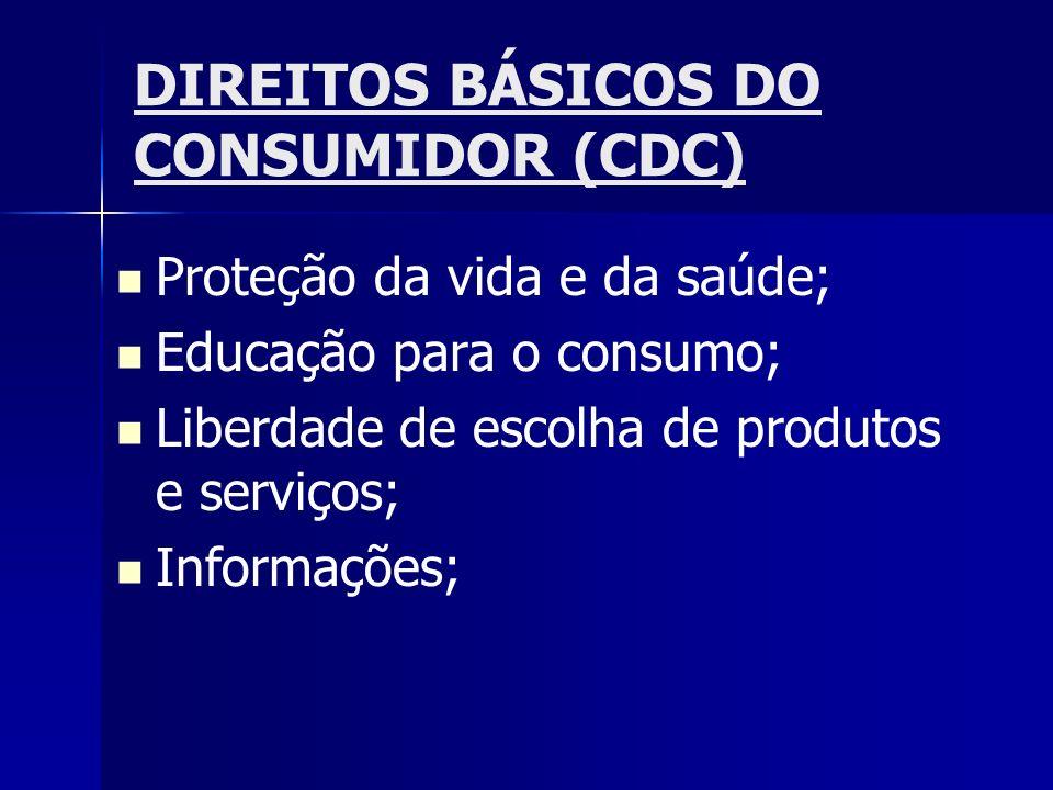 DIREITOS BÁSICOS DO CONSUMIDOR (CDC) Proteção da vida e da saúde; Educação para o consumo; Liberdade de escolha de produtos e serviços; Informações;