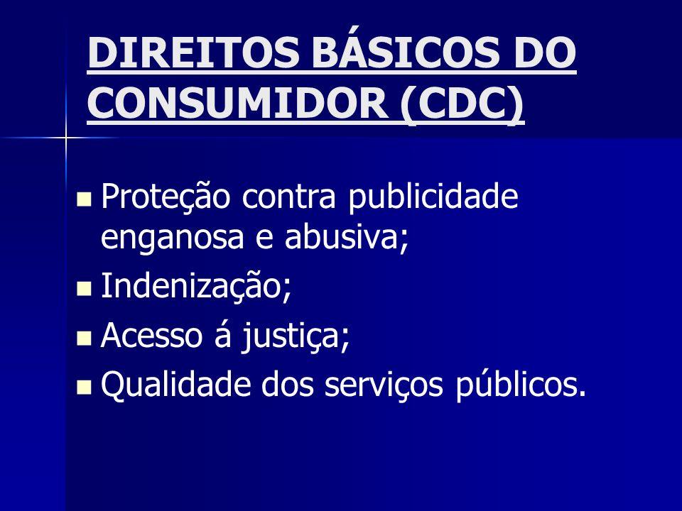 DIREITOS BÁSICOS DO CONSUMIDOR (CDC) Proteção contra publicidade enganosa e abusiva; Indenização; Acesso á justiça; Qualidade dos serviços públicos.
