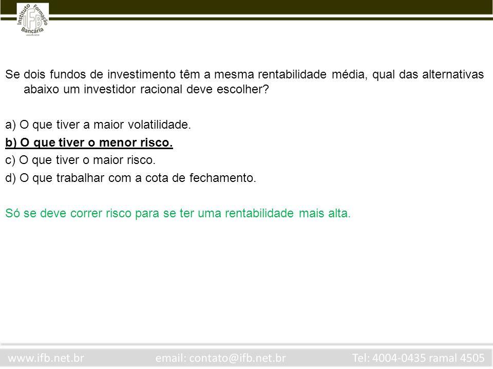 Assinale a alternativa INCORRETA.a) Na BM&F são negociadas opções de ações.