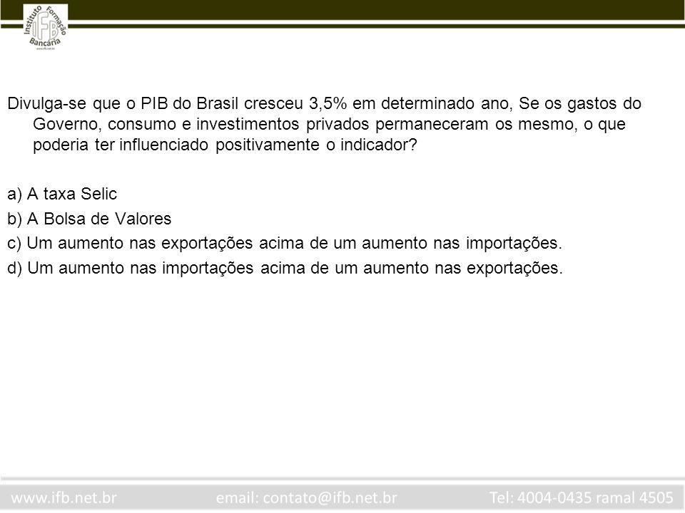 Divulga-se que o PIB do Brasil cresceu 3,5% em determinado ano, Se os gastos do Governo, consumo e investimentos privados permaneceram os mesmo, o que