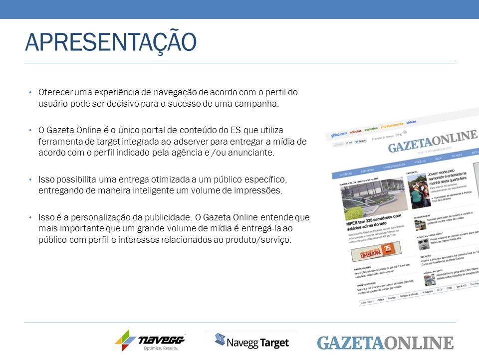APRESENTAÇÃO Oferecer uma experiência de navegação de acordo com o perfil do usuário pode ser decisivo para o sucesso de uma campanha. O Gazeta Online