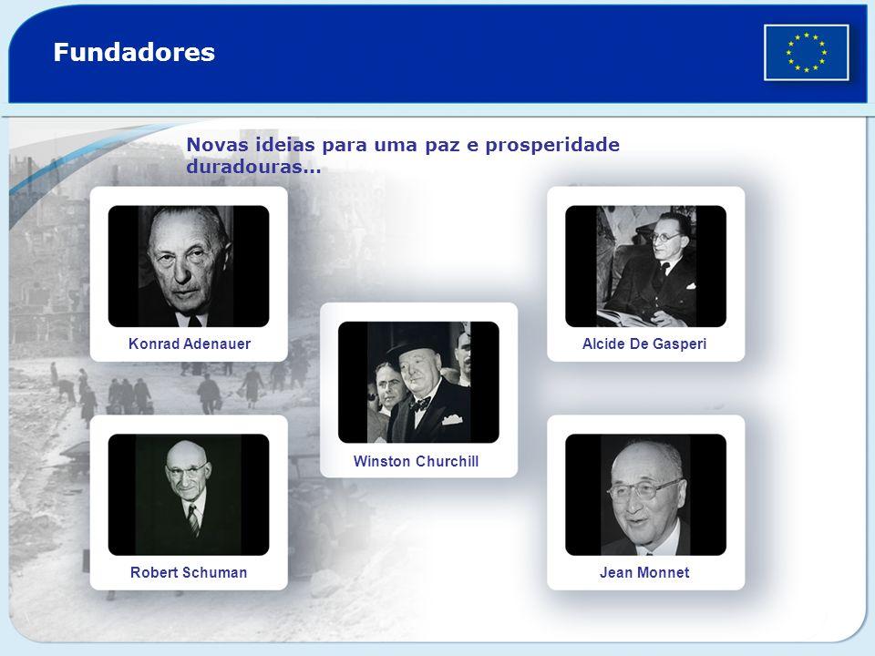 Fundadores Novas ideias para uma paz e prosperidade duradouras... Konrad Adenauer Robert Schuman Winston Churchill Alcide De Gasperi Jean Monnet
