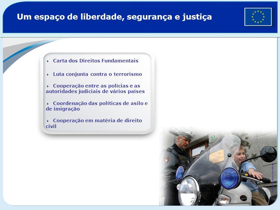 Um espaço de liberdade, segurança e justiça Carta dos Direitos Fundamentais Luta conjunta contra o terrorismo Cooperação entre as polícias e as autori