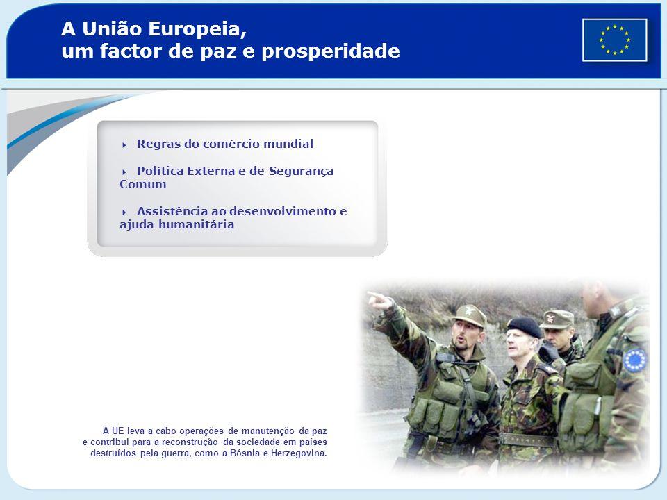 A União Europeia, um factor de paz e prosperidade Regras do comércio mundial Política Externa e de Segurança Comum Assistência ao desenvolvimento e aj