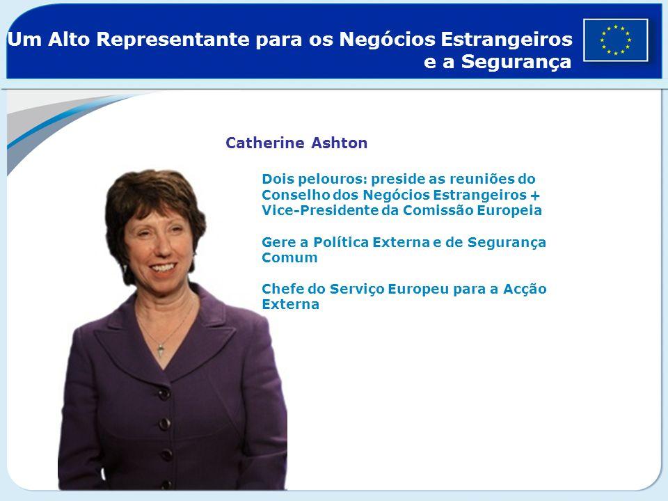 Um Alto Representante para os Negócios Estrangeiros e a Segurança Catherine Ashton Dois pelouros: preside as reuniões do Conselho dos Negócios Estrang