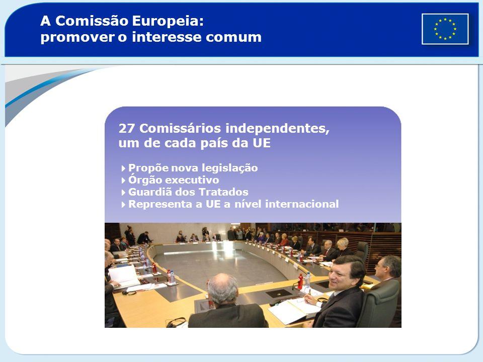 A Comissão Europeia: promover o interesse comum 27 Comissários independentes, um de cada país da UE Propõe nova legislação Órgão executivo Guardiã dos