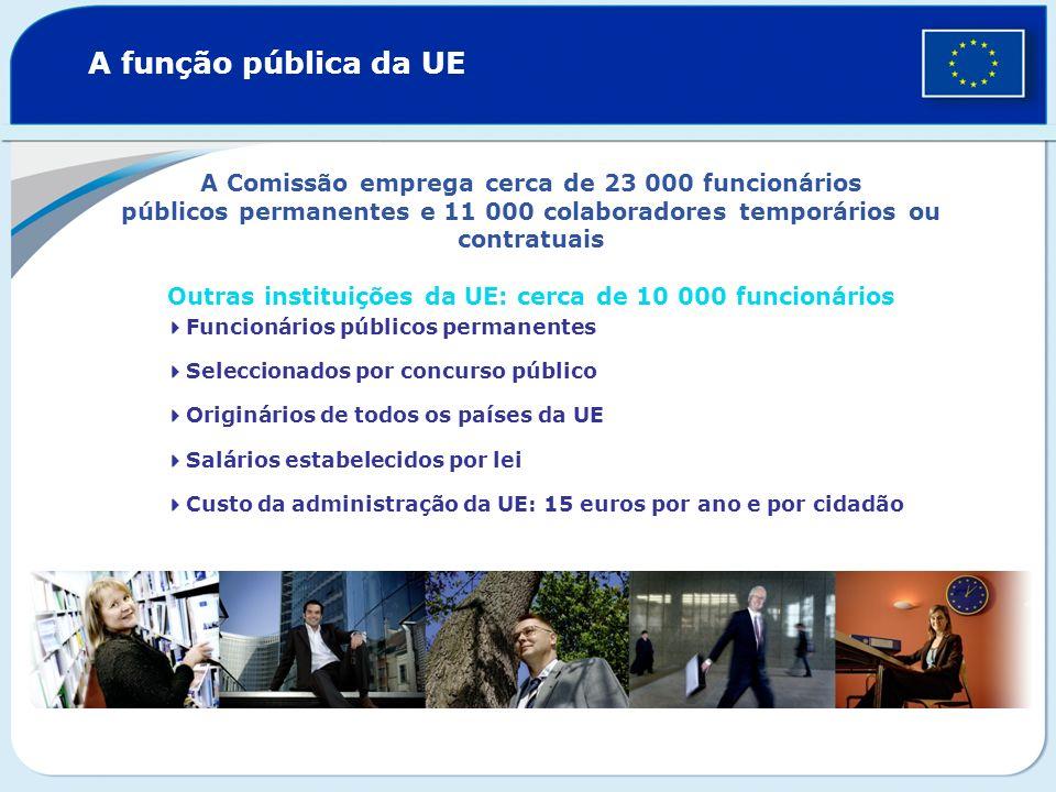 A função pública da UE A Comissão emprega cerca de 23 000 funcionários públicos permanentes e 11 000 colaboradores temporários ou contratuais Outras i