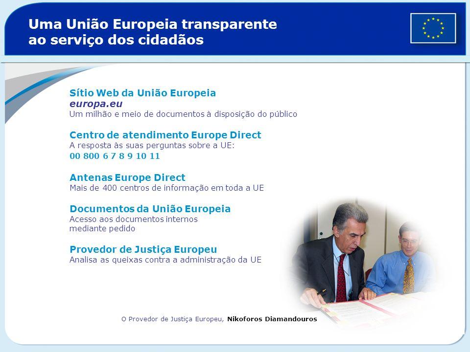 Uma União Europeia transparente ao serviço dos cidadãos Sítio Web da União Europeia europa.eu Um milhão e meio de documentos à disposição do público C