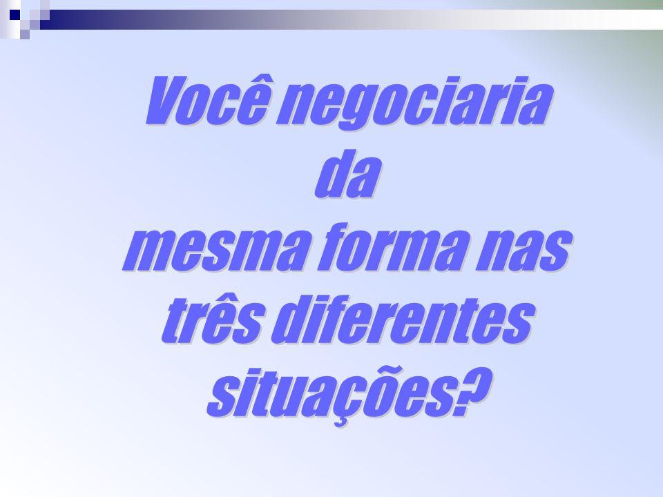 Você negociaria da mesma forma nas três diferentes situações?