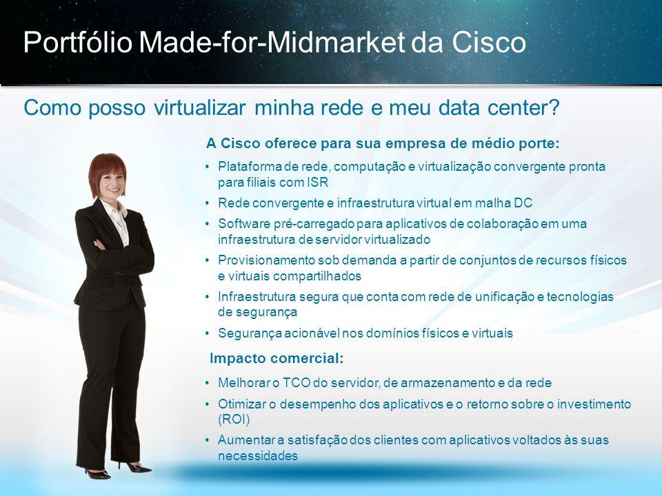 © 2013 Cisco e/ou suas afiliadas. Todos os direitos reservados. Confidencial da Cisco 17 Portfólio Made-for-Midmarket da Cisco Como posso virtualizar