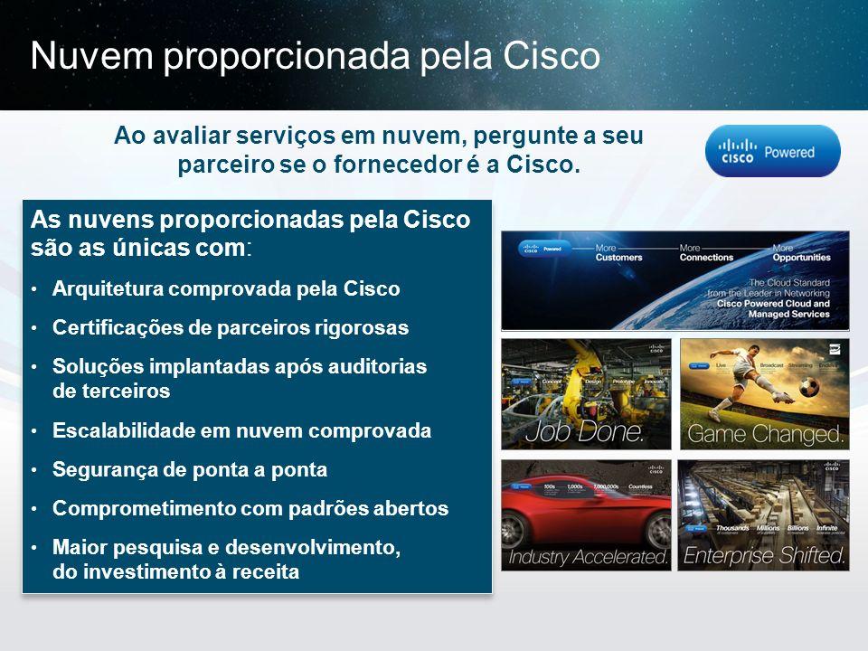 © 2013 Cisco e/ou suas afiliadas. Todos os direitos reservados. Confidencial da Cisco 31 Ao avaliar serviços em nuvem, pergunte a seu parceiro se o fo