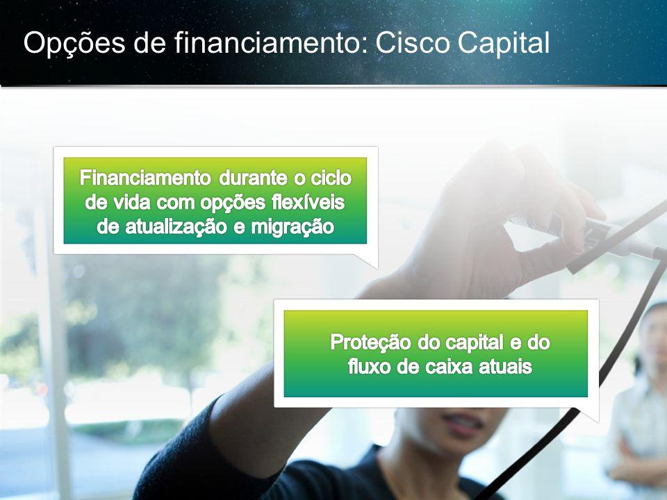 © 2013 Cisco e/ou suas afiliadas. Todos os direitos reservados. Confidencial da Cisco 32 Opções de financiamento: Cisco Capital