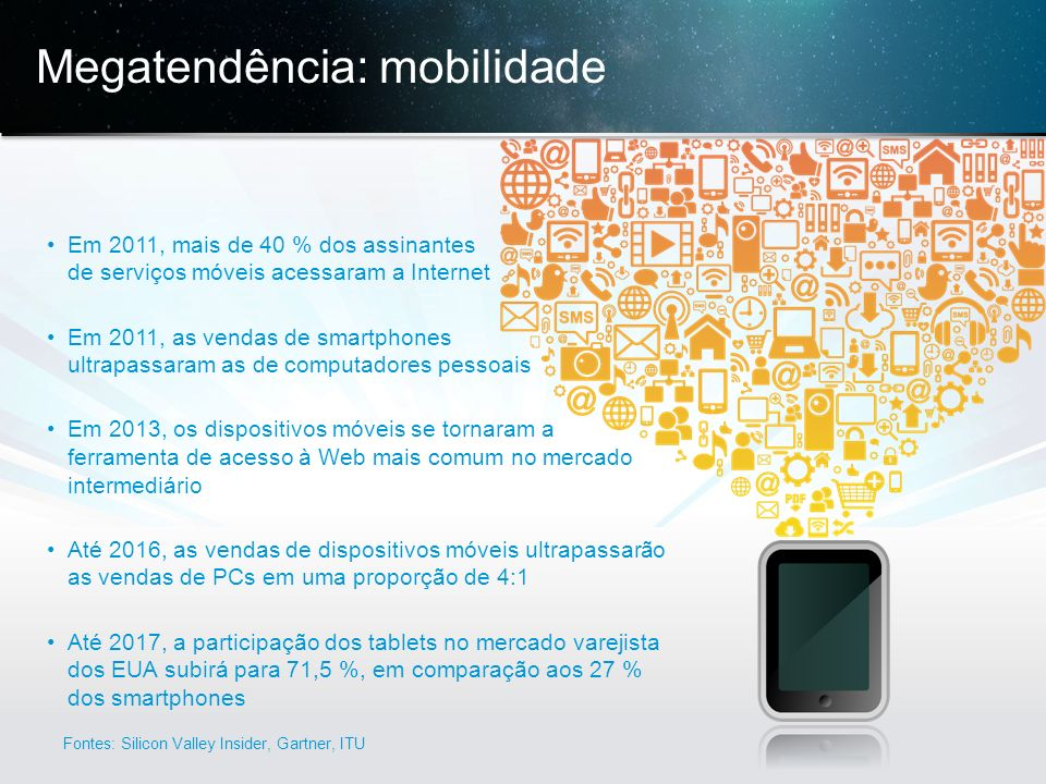 © 2013 Cisco e/ou suas afiliadas. Todos os direitos reservados. Confidencial da Cisco 5 Megatendência: mobilidade Em 2011, mais de 40 % dos assinantes