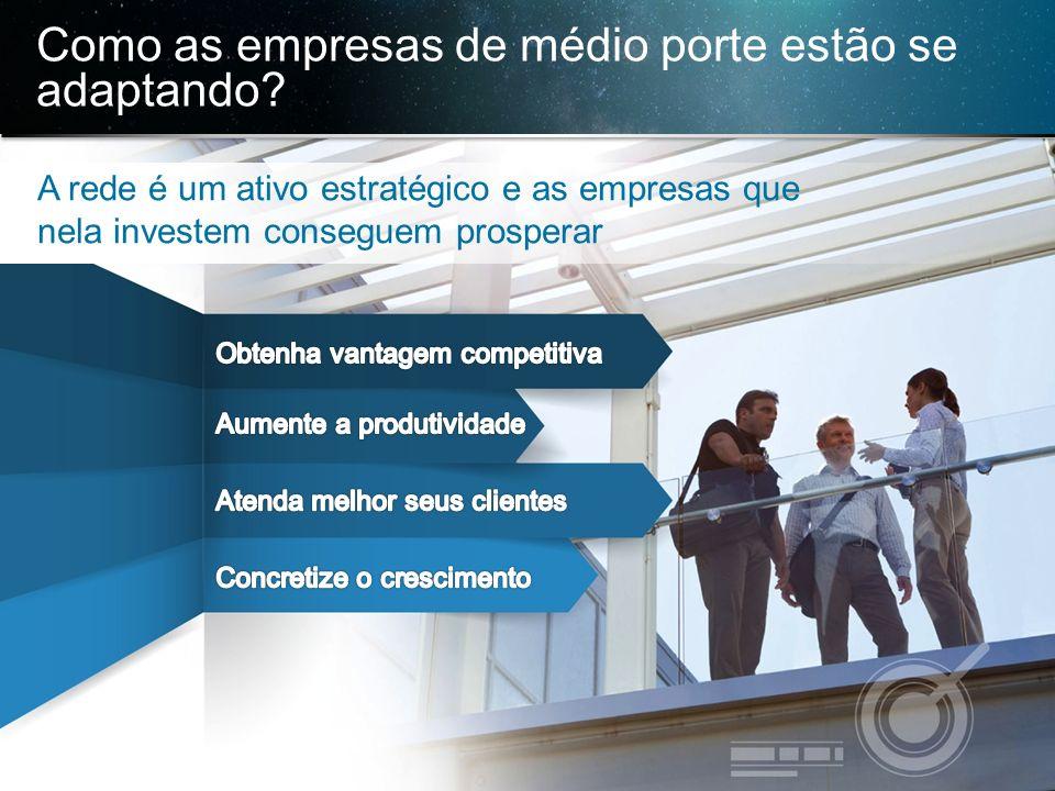 © 2013 Cisco e/ou suas afiliadas. Todos os direitos reservados. Confidencial da Cisco 8 Como as empresas de médio porte estão se adaptando?,,,, A rede
