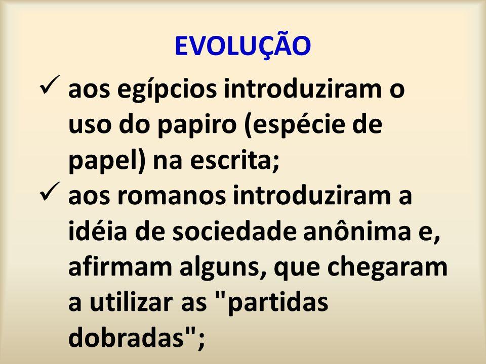 EVOLUÇÃO aos egípcios introduziram o uso do papiro (espécie de papel) na escrita; aos romanos introduziram a idéia de sociedade anônima e, afirmam alguns, que chegaram a utilizar as partidas dobradas ;