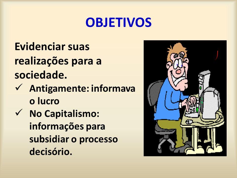 OBJETIVOS Evidenciar suas realizações para a sociedade. Antigamente: informava o lucro No Capitalismo: informações para subsidiar o processo decisório