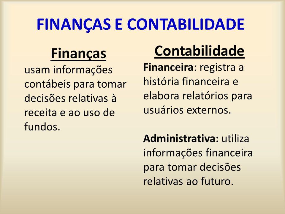 FINANÇAS E CONTABILIDADE Finanças usam informações contábeis para tomar decisões relativas à receita e ao uso de fundos. Contabilidade Financeira: reg
