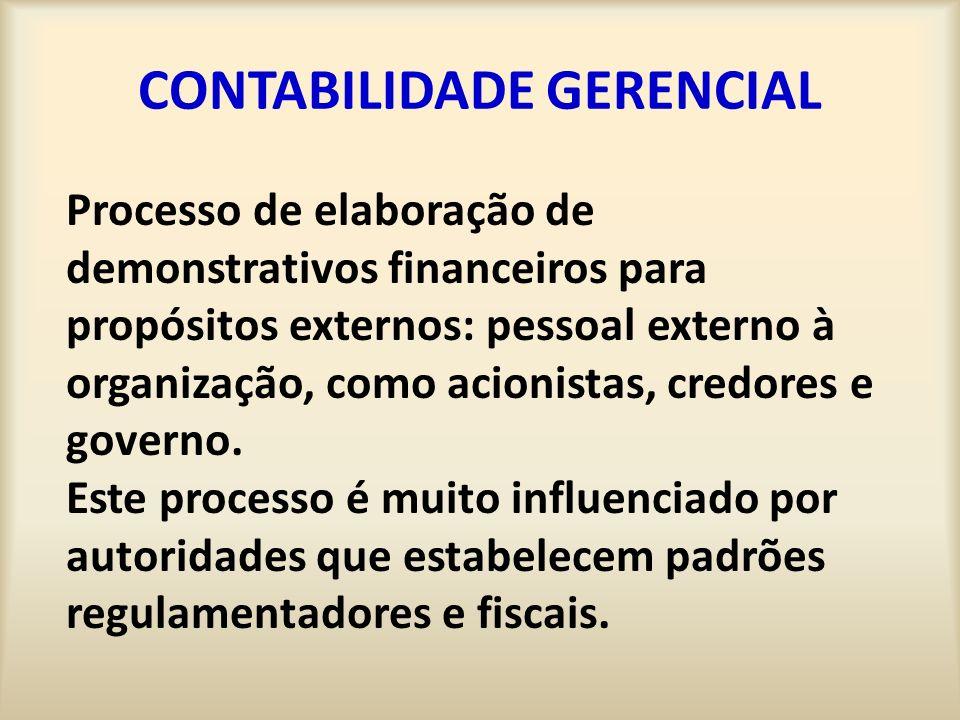 CONTABILIDADE GERENCIAL Processo de elaboração de demonstrativos financeiros para propósitos externos: pessoal externo à organização, como acionistas,