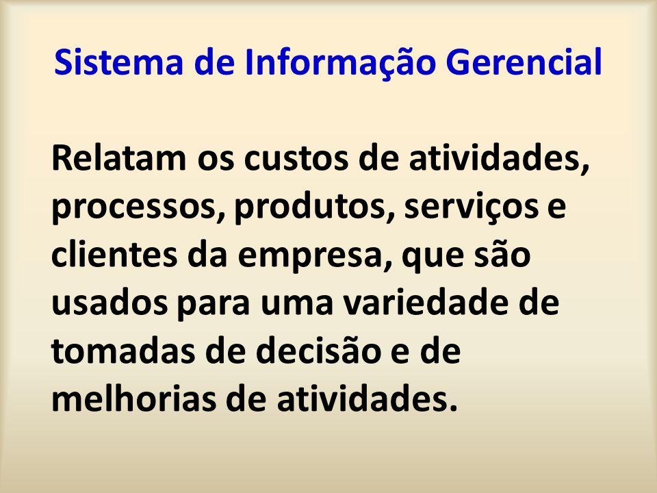 Sistema de Informação Gerencial Relatam os custos de atividades, processos, produtos, serviços e clientes da empresa, que são usados para uma variedad