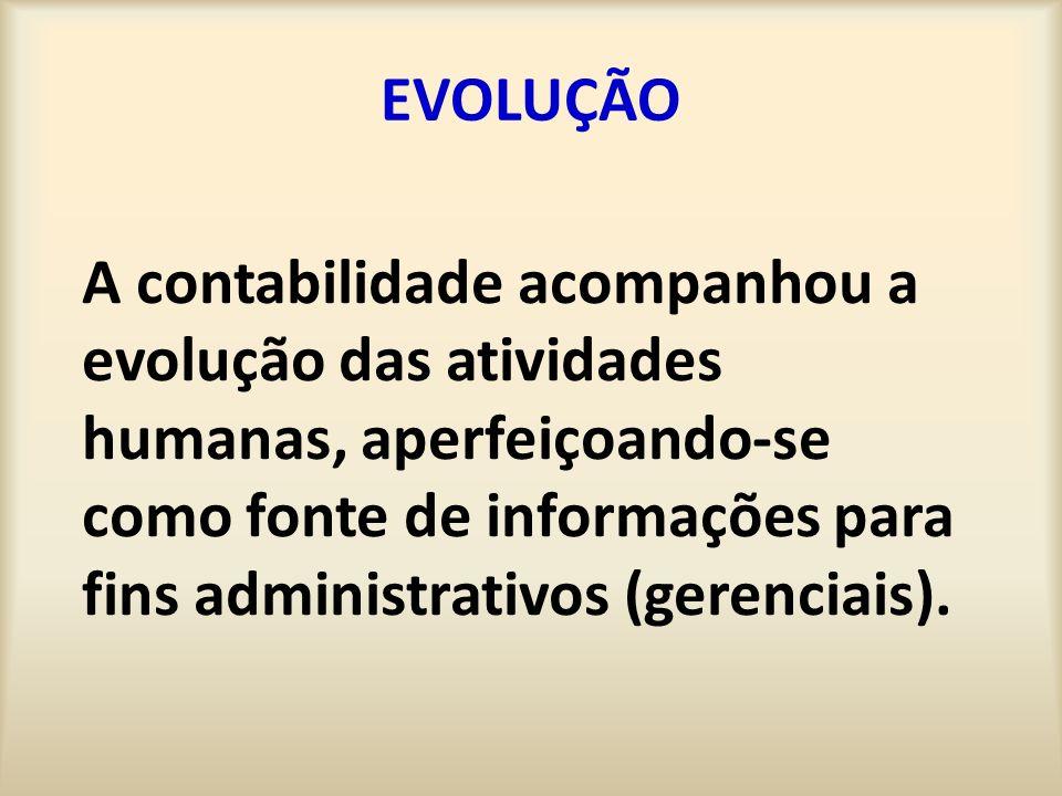 EVOLUÇÃO A contabilidade acompanhou a evolução das atividades humanas, aperfeiçoando-se como fonte de informações para fins administrativos (gerenciai