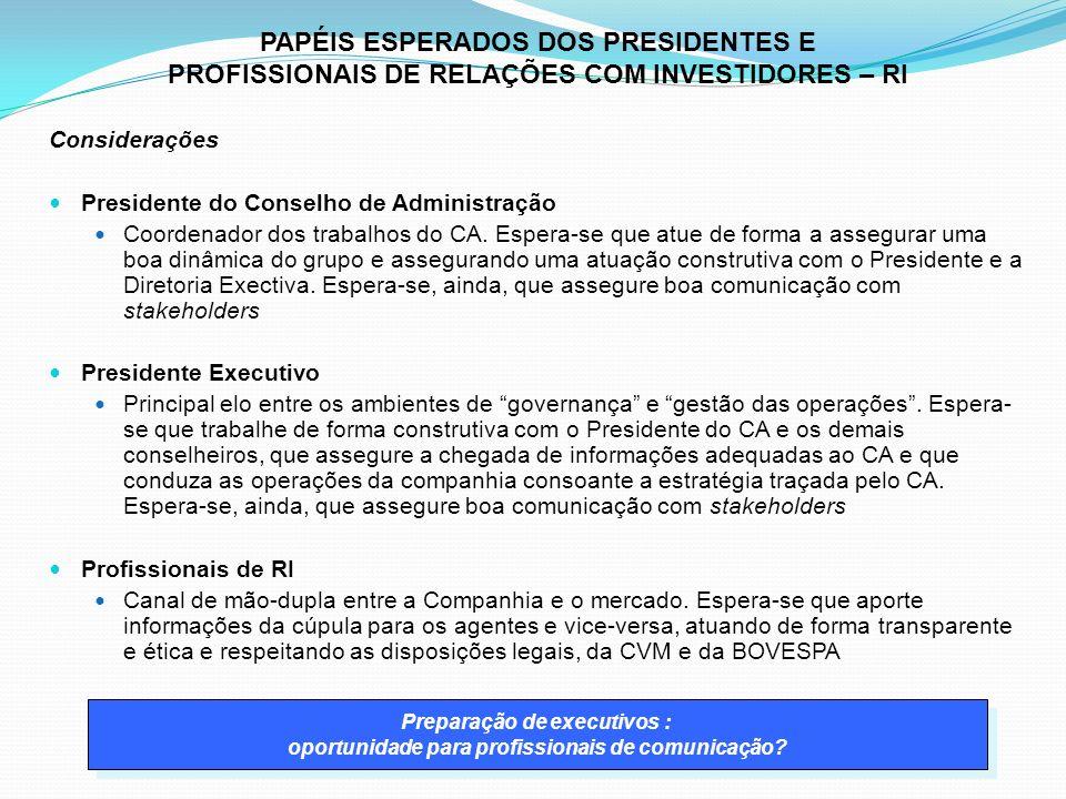 Considerações Presidente do Conselho de Administração Coordenador dos trabalhos do CA.