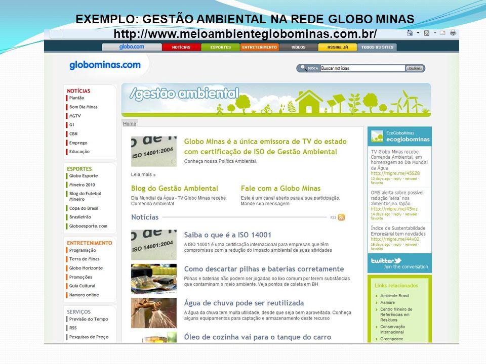 EXEMPLO: GESTÃO AMBIENTAL NA REDE GLOBO MINAS http://www.meioambienteglobominas.com.br/